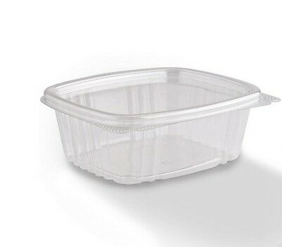 12oz. Clear Hinged Flat Lid Deli Container 200ct Genpak AD12 disposable plastic