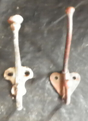 2 Misc Antique Iron Wall Hooks Do Not Match 5242