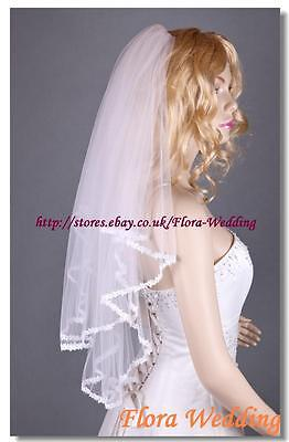 """2-Tier Bridal Wedding Tulle Veil with Corded Lace Edge,32"""" Elbow Length"""