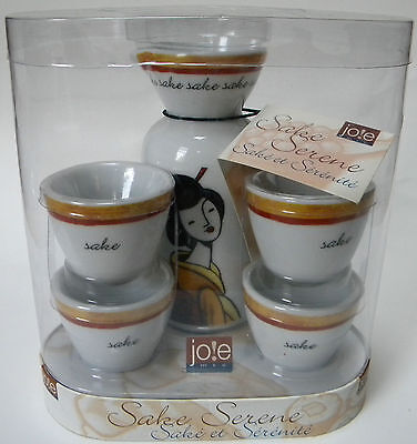 Jo!e Sake Serene Set 4 Cups 1 Carafe Asian Geisha Design Great With Sushi NEW