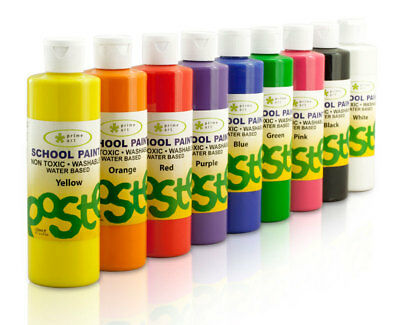 Pack 9 of  School Paints 250ml Washable & Non-toxic, Waterbase Kids paints