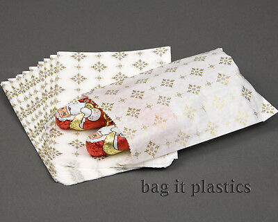 """GOLD STAR DESIGN PAPER SWEET CHRISTMAS PARTY GIFT BAGS 5"""" x 7"""" 7"""" x 9"""" 10"""" x 14"""""""
