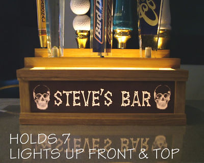 (COLOR LEDS) 7 Beer tap handle stand BONE LETTERS & SKULLS * PERSONALIZED