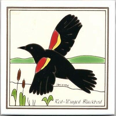 RED-WINGED BLACKBIRD WALL PLAQUE, TILE, TRIVET ~ DIRECTLY FROM BESHEER ART TILE