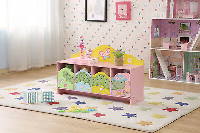Kids Wooden Hand Painted Worm Caterpillar Storage Cupboard Bench Toy Box