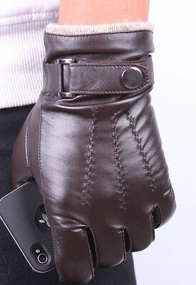 Men's Brown Fashion Genuine Lambskin Leather Wrist Gloves 3 Lines Touch Screen