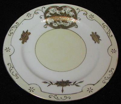 6 in. Moriyama pottery hand painted dessert plate decorated with gold flowers