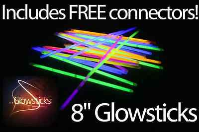 "50 or 100 Coloured 8"" Glowsticks - Glow Sticks, Bracelets + Necklaces Parties"