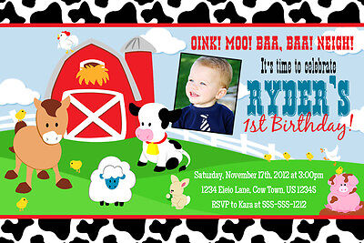 Printed Barnyard 4X6 5X7 or Ticket Cow Print Invitations 1st 2nd Birthday