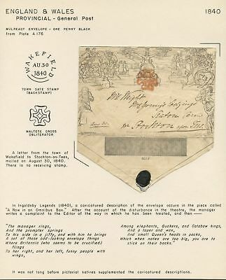 Mulready Envelope One Penny Black Plate A176 On Presentation Page Wl3881A