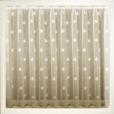 Ivory Cream Floral Voile Net Curtain Dallas