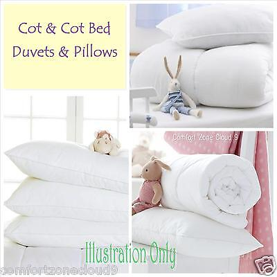 COT & COT BED DUVETS & (60x40cm) PILLOWS  FULLY HYPO-ALLERGENIC & ANTI-BACTERIAL