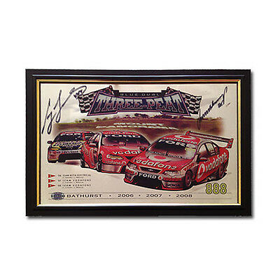 Bar Mirror Three-Peat Ford Bathurst Winners 06 07 08 Signed By Lowndes & Whincup