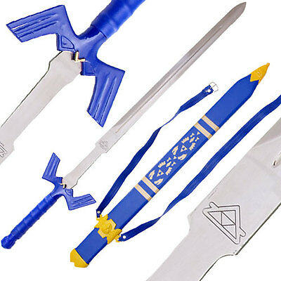 "42"" LEGEND ZELDA REAL STEEL MASTER SWORD LEATHER SHEATH costume link knife C130"