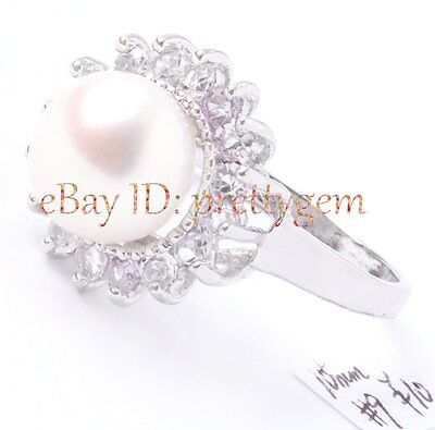 10MM WHITE FRESHWATER PEARL, ELEGANT WHITE GOLD SILVER PLATED RING US #9