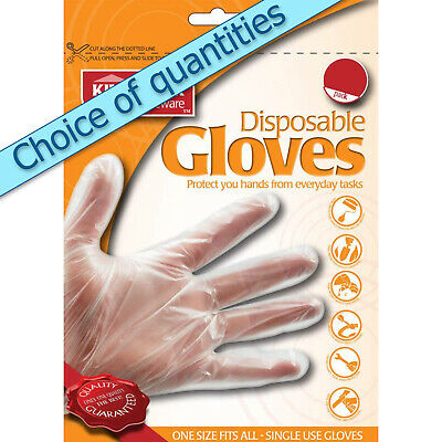 Clear disposable gloves, discounted packs of 100, 200, 300, 400 & 500 Kingfisher