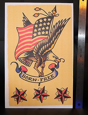 BORN FREE USA Eagle vintage Sailor Jerry Traditional style Flash poster print