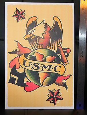 USMC INSIGNIA Eagle vintage Sailor Jerry Traditional style Flash poster print