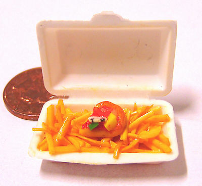 1:12 Scale Take Away Pizza & Chips - Fries Tumdee Dolls House Miniature Food