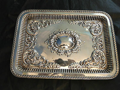 Small Sandwich/ Drink Tray Sterling Silver Chased Gadroon Border Birmingham 1899