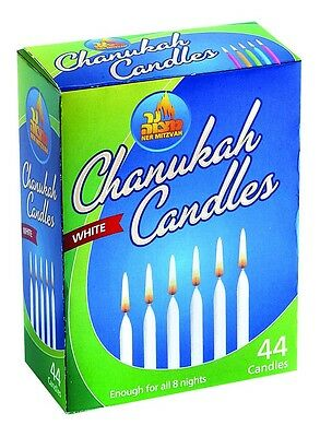 44 WHITE Chanukah CANDLES.... Jewish Judaica Hannukah Menorah Candle Lights Box