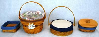 "Lot of  4 Longaberger Baskets: Stuck on You, Lucky Charm,  9"" Pie, Morning Glory"