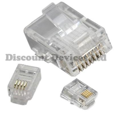 Phone Computer PC Modem Connectors 4P4C 6P4C 8P8C RJ9 RJ11 RJ45 CAT5 Plugs