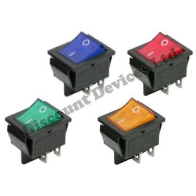 On-Off Momentary Latching 4 Pins 2Circuits Rocker Switch 15A 250VAC colour Light