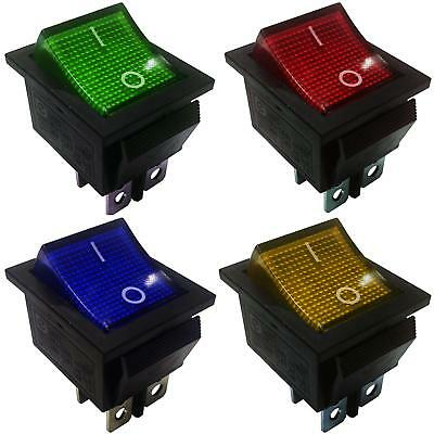 On-Off Latching Rocker Switch 4 Pins 2 Circuits  15A 250VAC colour Light