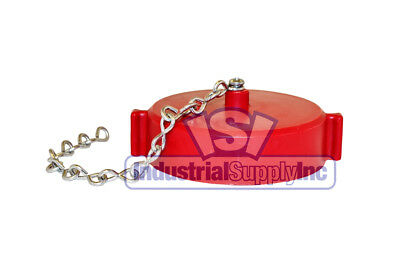 "2-1/2"" NST(M) Polycarbonate Red Fire Hose Hydrant Cap and Chain"