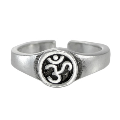 Aum Symbol Toe Ring SS Sterling Silver Jewelry Adjustable Size Hindu Buddhist Om