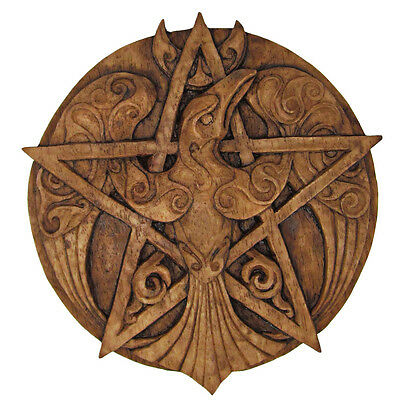 Crescent Raven Pentacle Plaque | Wood Finish | Dryad Design | Pagan Wiccan Crow