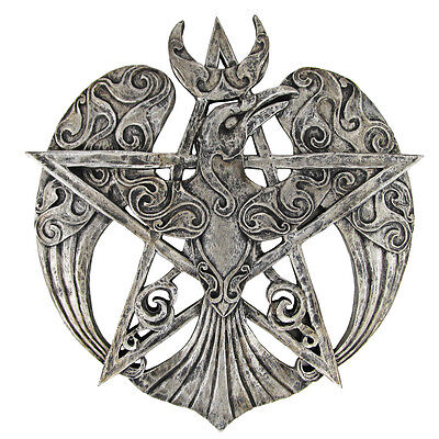 Large Raven Pentacle Plaque - Silver Finish - Dryad Design - Pagan Wiccan Crow