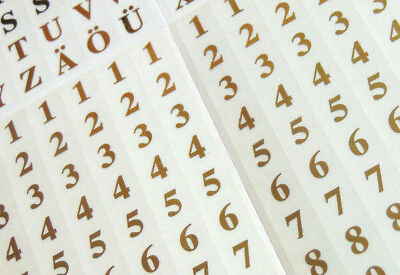 7mm Gold on Clear Labels , Sticky Vinyl Letters or Numbers  Plastic Stickers