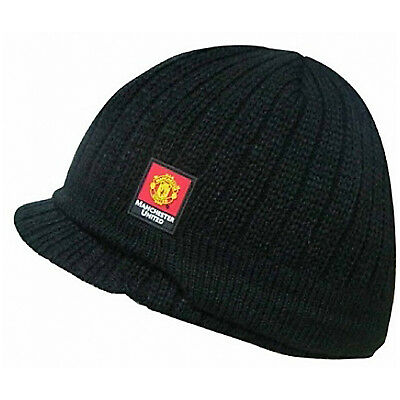 Manchester United Knitted Peaked Beanie Hat Black