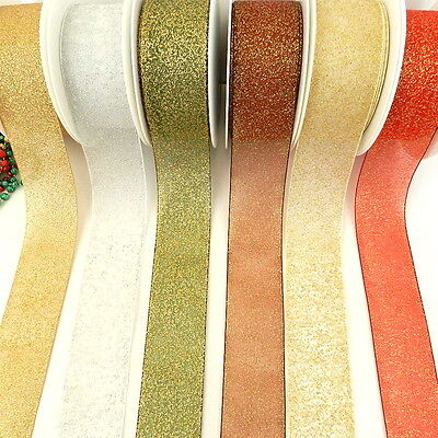 3 metres shimmery sheer christmas ribbon  25mm 40mm red gold cream bronze silver