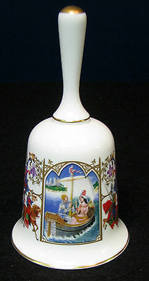 "5 in.The Romance of Camelot ""Tristam and Isolt"" bone china bell Camelot scenes."