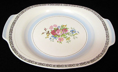"15 in. Triumph Limoges USA  ""Prince Ruppert"" serving platter flowers & gold trim"