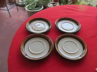 "RORSTRAND ANNIKA 4 SAUCERS 6 1/2""  BROWN & ORANGE ON BEIGE SWEDEN"