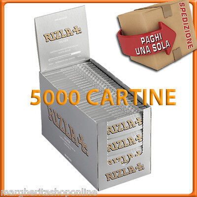 Rizla Cartine SILVER CORTE 1 BOX da 100 libretti = 5000 CARTINE!