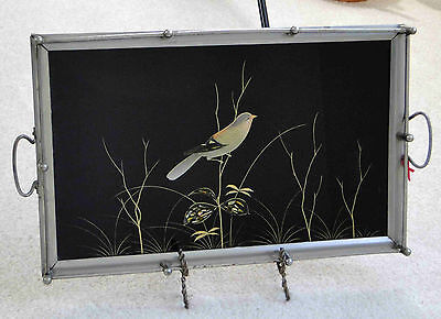 Vintage, Beautiful Reverse Glass Painting, Made in Germany, Serving Tray