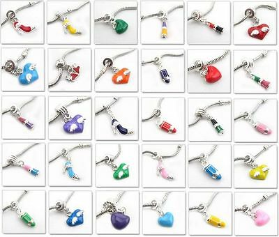 Free Ship 30pcs Mixed Different Style Enamel Alloy Charms Beads151104