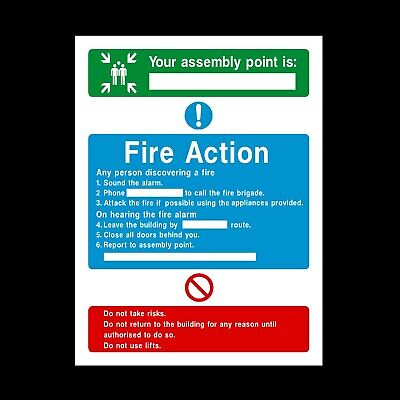 Fire Action Assembly Point Signs & Stickers All Size All Material Free P+P (Fa8)
