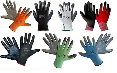 12 Pairs Of New Nitrile Coated Work Gloves Construction Gardardening