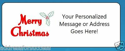 60 Personalized Merry Christmas Holly Script Return Address Labels