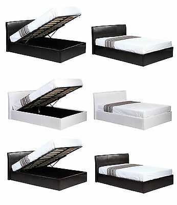 Ottoman Storage Faux Leather Bed Black Brown White With Mattress Options