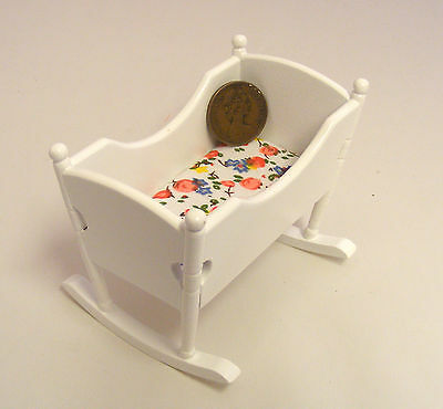 1:12 Scale White Painted Wooden Rocking Cot Tumdee Dolls House Baby Nursery