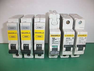 Square D MCB Circuit Breaker - (Several Sizes 6A 10A 16A 20A 32A 40A 50A)