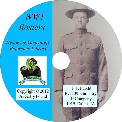 World War I Rosters & Honor Rolls WW 1 one lists names - 54 books on DVD