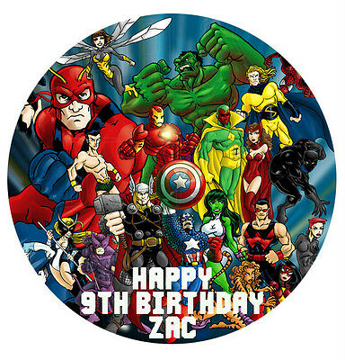 1 x Avengers Superhero 19cm round personalised cake topper edible image